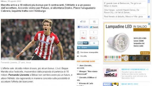 La prensa italiana desvela una oferta de 18 millones por Llorente