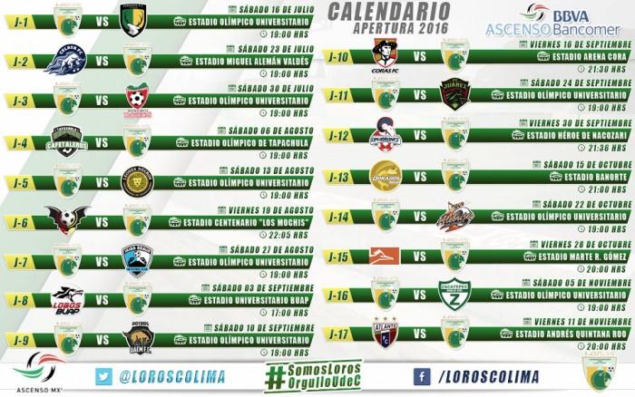 Loros conoce su calendario de partidos para el Apertura 2016 - VAVEL ...