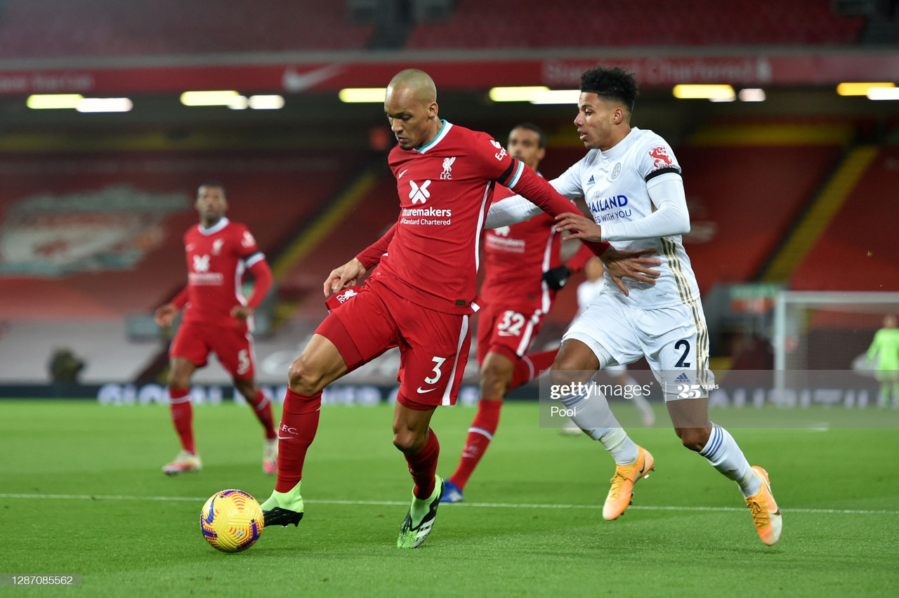 LIVERPOOL, ENGLAND - NOVEMBER 22: Fabinho of Liverpool battles for possession with James Justin of Leicester City during the Premier League match between Liverpool and Leicester City at Anfield on November 22, 2020 in Liverpool, England. Sporting stadiums around the UK remain under strict restrictions due to the Coronavirus Pandemic as Government social distancing laws prohibit fans inside venues resulting in games being played behind closed doors. (Photo by Peter Powell - Pool/Getty Images)