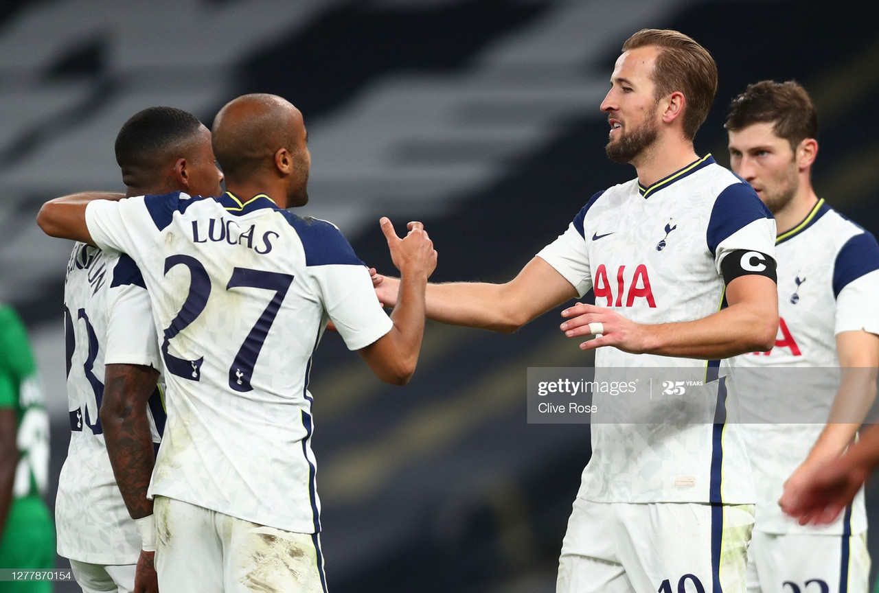 <div>LONDON, ENGLAND - OCTOBER 01: Harry Kane of Tottenham Hotspur celebrates after scoring his team's sixth goal during the UEFA Europa League play-off match between Tottenham Hotspur and Maccabi Haifa at Tottenham Hotspur Stadium on October 01, 2020 in London, England. Football Stadiums around Europe remain empty due to the Coronavirus Pandemic as Government social distancing laws prohibit fans inside venues resulting in fixtures being played behind closed doors. (Photo by Clive Rose/Getty Images)</div><div><br></div>