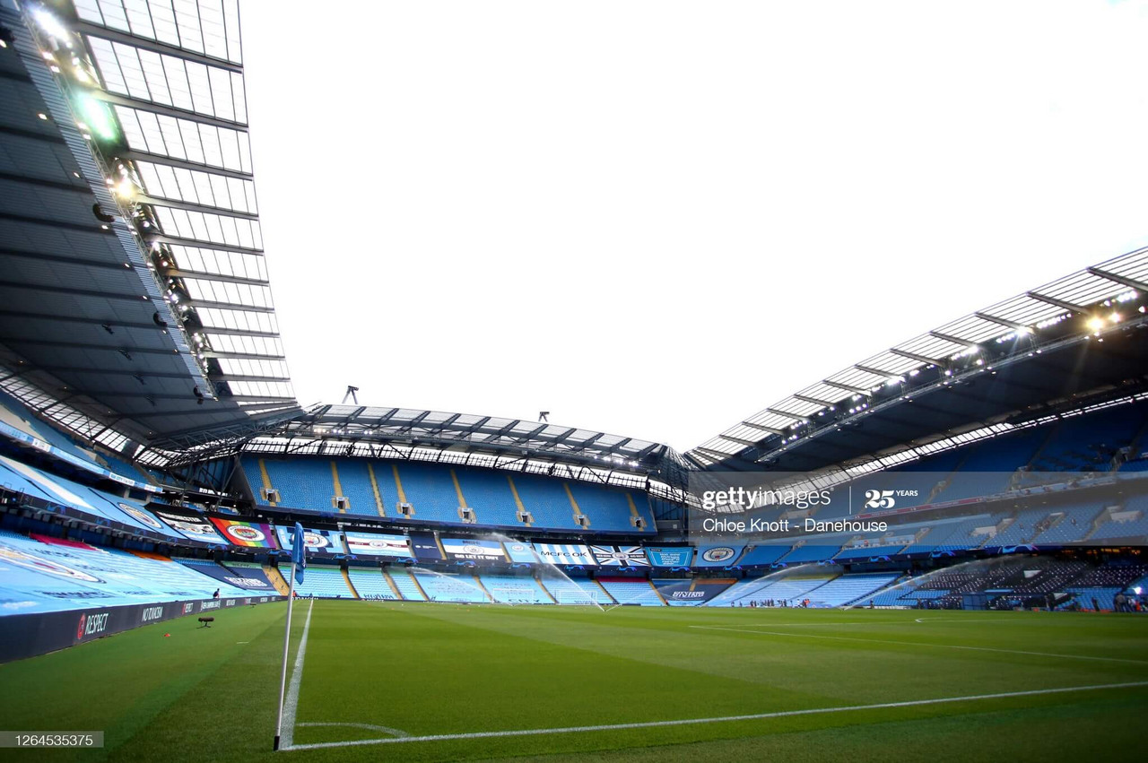 <div>MANCHESTER, ENGLAND - AUGUST 07: A general view inside the stadium ahead of the UEFA Champions League round of 16 second leg match between Manchester City and Real Madrid at Etihad Stadium on August 07, 2020 in Manchester, England. (Photo by Chloe Knott - Danehouse/Getty Images)</div><div><br></div>