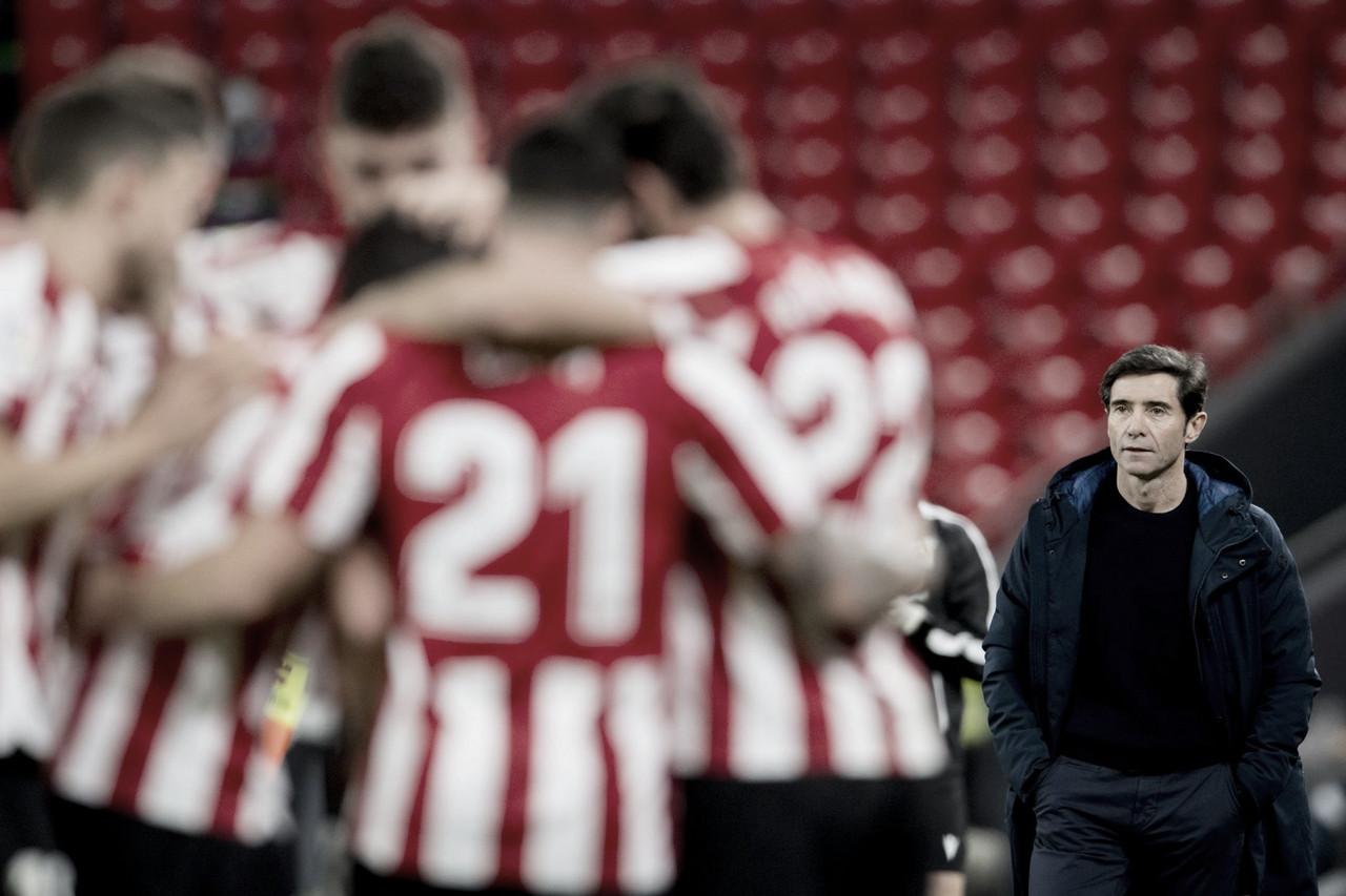 Marcelino en uno de los goles de su equipo. // Foto: Athletic Club