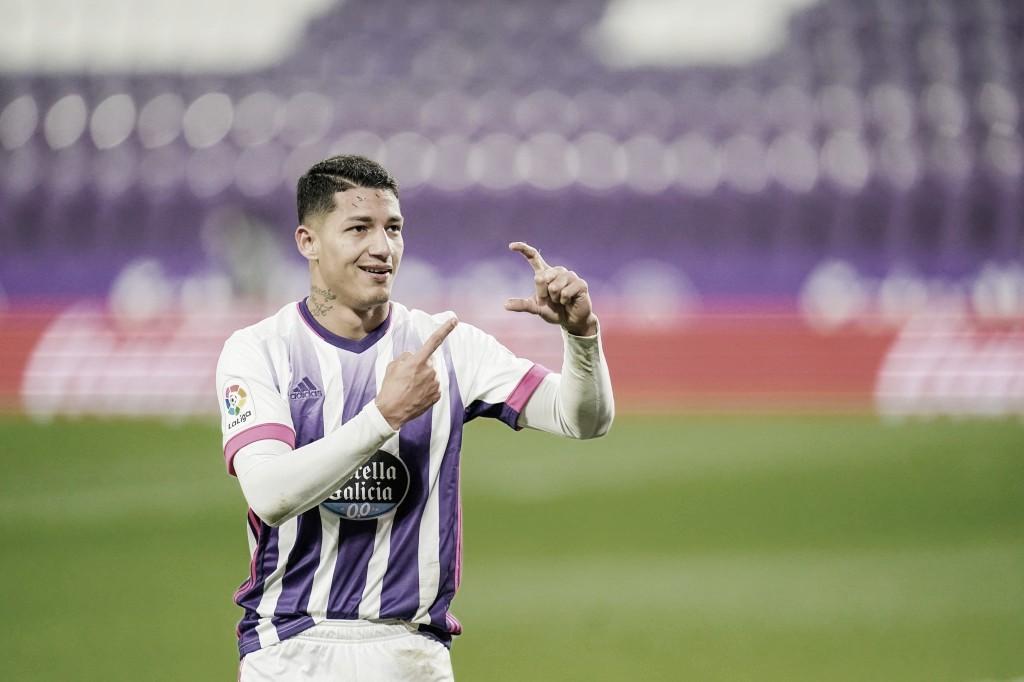 Marcos André celebra su gol frente al Levante// FOTO: RealValladolid.es