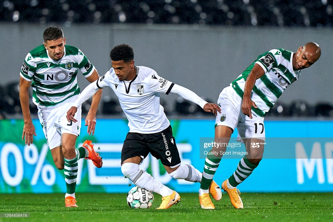 <div>GUIMARAES, PORTUGAL - NOVEMBER 07: Zouhair Feddal (L) and Joao Mario of Sporting CP compete for the ball with Marcus Edwards of Vitoria Guimaraes SC during the Liga NOS match between Vitoria Guimaraes SC and Sporting CP at Estadio Dom Afonso Henriques on November 07, 2020 in Guimaraes, Portugal. Football Stadiums around Europe remain empty due to the Coronavirus Pandemic as Government social distancing laws prohibit fans inside venues resulting in fixtures being played behind closed doors. (Photo by Jose Manuel Alvarez/Quality Sport Images/Getty Images)</div><div><br></div>