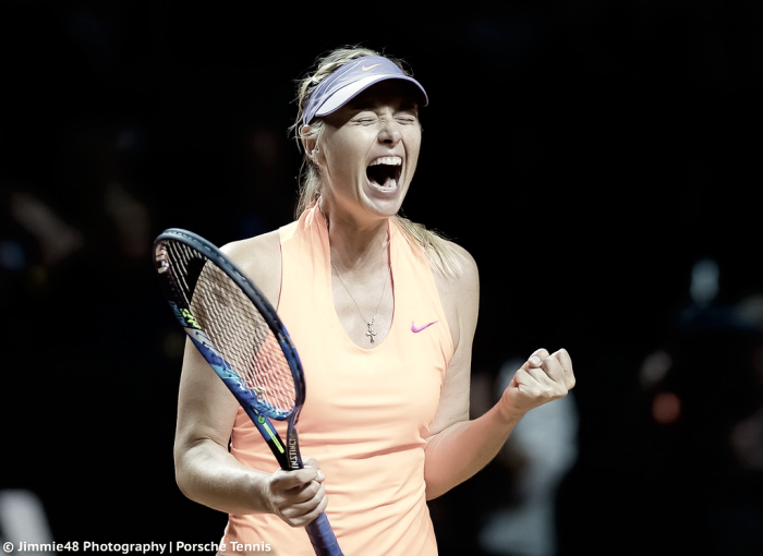 WTA Stuttgart: Sharapova soars past valiant Vinci in return from 15-month ban
