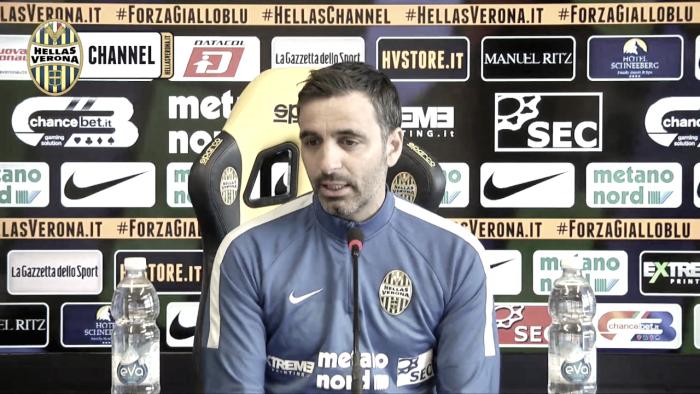 """Hellas Verona, Pecchia in conferenza: """"Voglio vedere lo stesso attegiamento di Bari"""""""
