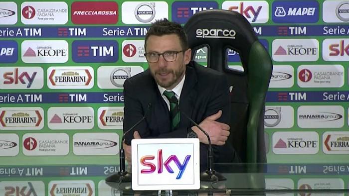 """Sassuolo, Di Francesco: """"A Napoli non dobbiamo perdere le nostre caratteristiche"""""""