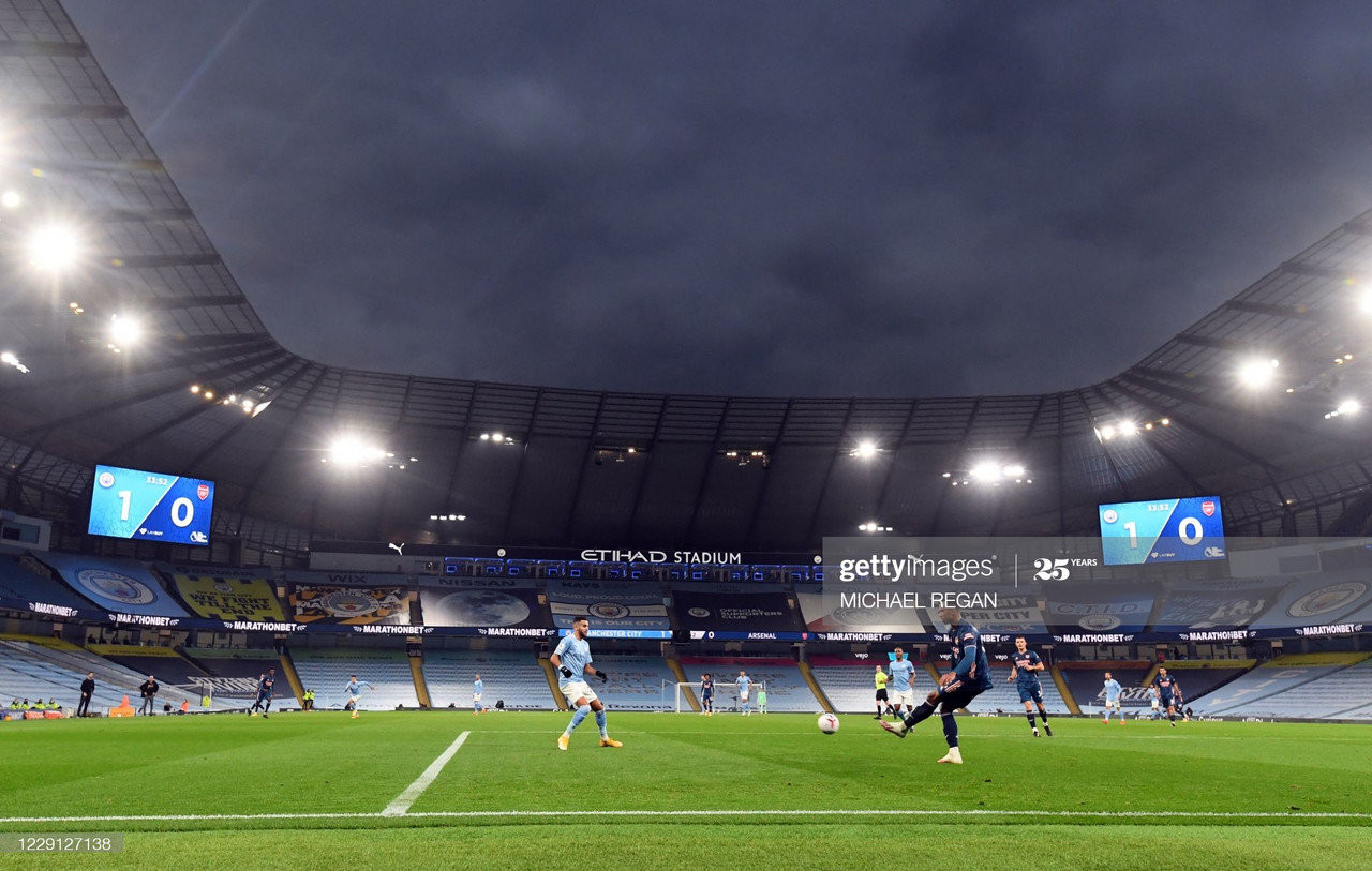 A general view during the English Premier League football match between Manchester City and Arsenal at the Etihad Stadium in Manchester, north west England, on October 17, 2020. (Photo by Michael Regan / POOL / AFP)