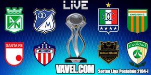 Sorteo de los cuartos de final de la Liga Postobón, en vivo y en directo online