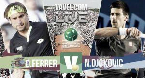 Resultado Novak Djokovic vs David Ferrer en las semifinales del Masters 1000 de Roma (2-0)