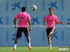 Messi, Iniesta y Douglas, trabajo específico