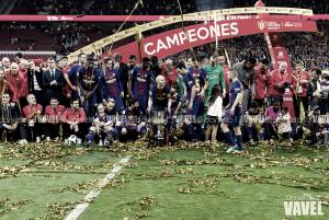 El Barça ofrece sus cinco Copas del Rey de la temporada