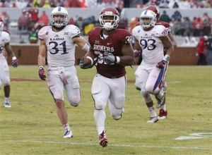 Samaje Perine Sets Single-Game Rushing Record in Sooners' Rout of Kansas 44-7