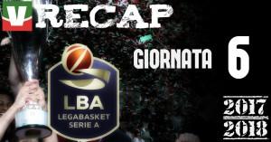 Legabasket: risultati e tabellini della sesta giornata