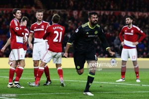 Middlesbrough 0-1 Chelsea: Diego Costa strike seals sixth straight win and sends Blues top