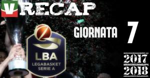 Legabasket: risultati e tabellini della settima giornata