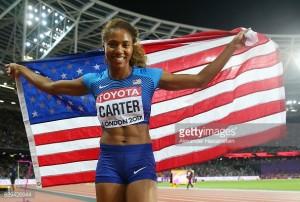 London 2017: Kori Carter outkicks Dalilah Muhammad to take 400metre hurdles gold
