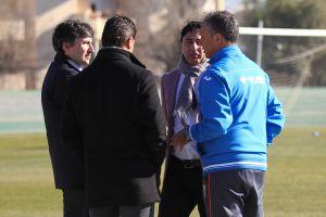 Gino Pozzo, Quique Pina y Juan Carlos Cordero, en el entrenamiento del Granada