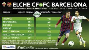 El club publica los precios generales para el partido frente al Barcelona
