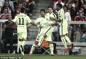 Bayern Munich(3) 3-2 (5)Barcelona: Spaniards hold on to first leg lead to make first UCL final in four years