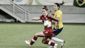 Score Brazil vs Canada in Women's Olympic Soccer Bronze Medal Game (1-2)