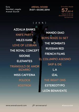 El cartel del Arenal Sound se amplía: nuevas confirmaciones