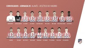 El Atlético de Madrid viajará a Álava sin Griezmann, Saúl ni Oblak