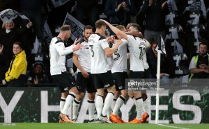 Derby County 1-0 Fulham: Jerome header gives Rams slender advantage in play-off semi-final