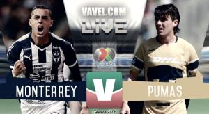 Monterrey vs Pumas UNAM en vivo online en la Liga MX (2-1)