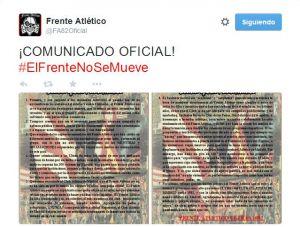 """El Frente Atlético se pronuncia: """"Seguiremos fieles a nuestro amado Atlético de Madrid"""""""