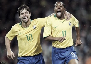 Diego e Robinho: após nove anos, dupla se reencontra na Seleção Brasileira