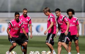 Último entrenamiento previo al partido frente al Valencia