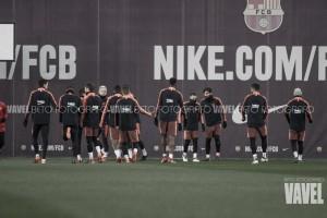 Primer entrenamiento para preparar el partido ante el Atlético