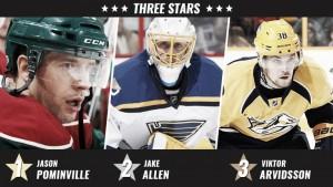 Pominville, Allen y Arvidsson estrellas de la semana