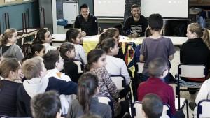 Los alumnos del CEIP San Agustín acogen a Rukavina y Jokic