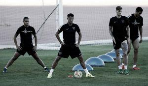 El Málaga entrenó con los internacionales y Boka