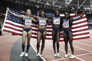 World Athletics Championships: American quartet seal women's 4x100m title