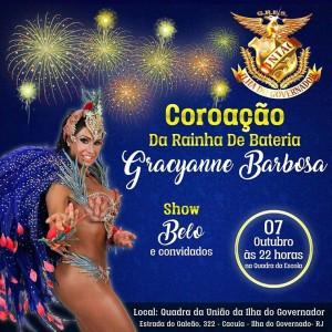 Gracyanne Barbosa será coroada rainha de bateria de escola do Rio