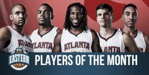 El quinteto titular de los Hawks y James Harden, Jugadores del Mes