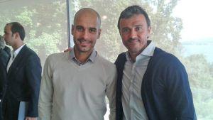 Guardiola y Luis Enríque, con la UEFA en Nyon