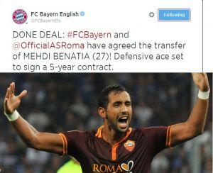 Bayern Monaco: ufficiale l'acquisto di Benatia