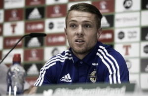 Ward speaks to the media as full Northern Ireland squad train ahead of Germany clash