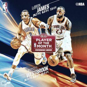 Russell Westbrook y LeBron James, Jugadores del Mes