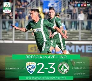 Serie B: l'Avellino rimonta ed espugna il Rigamonti