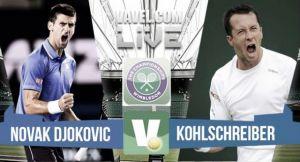 Risultato Djokovic - Kohlschreiber, primo turno Wimbledon 2015 (3-0)