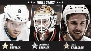 Pavelski, Bernier y Karlsson, los mejores de la semana en la NHL