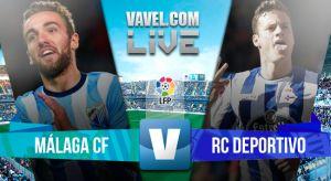 Málaga CF vs Deportivo de La Coruña 2015: resultado en vivo y en directo online en la Liga BBVA (1-1)
