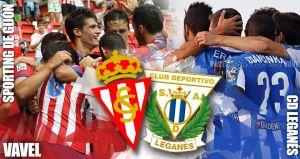 Sporting de Gijón - Leganés: prueba en diferentes alturas con un mismo objetivo