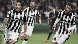 Juventus 2-1 Real Madrid: Carlos Tevez penalty gives Juventus the advantage in the Champions League semi-final