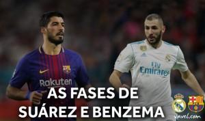 Suárez em ascensão ou o estagnado Benzema: quem pode decidir o El Clásico?